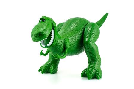 Bangkok, Tailandia - 12 de diciembre 2014: Rex el carácter de juguete dinosaurio verde de las películas de animación Toy Story de Disney Pixar estudio.