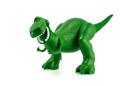 disney cartoon: Bangkok, Thailand - December 12, 2014: Rex the green dinosaur toy character from Toy Story animation films by Disney Pixar studio.