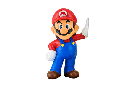 Bangkok,Thailand - May 13, 2014: Super Mario toy character isolated on white. There are plastic toy sold as part of the McDonalds Happy meals.