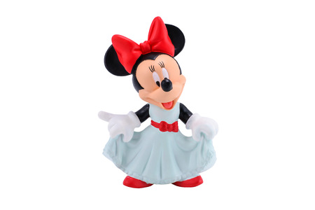 Bangkok,Thailand - MOctober 19, 2014:  Minnie mouse figure toy from Disney character. This character from Mickey and Minie Mouse  animation.