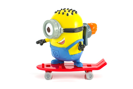 Bangkok,Thailand - October 27, 2014: Carl rocket Minion toy character from Despicable Me animation movie.. There are plastic toy sold as part of the McDonald's Happy meals.