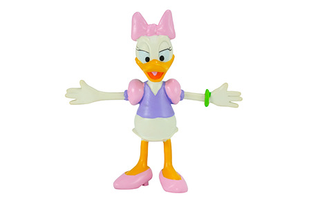 disney cartoon: Bangkok, Thailand - November 4, 2014: Deasy Duck from Mickey mouse and friends cartoon animation. This palstic toy figure from Disnay animation store.