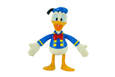 disney cartoon: Bangkok, Thailand - November 4, 2014: Donald Duck from Mickey mouse and friends cartoon animation. This palstic toy figure from Disnay animation store.