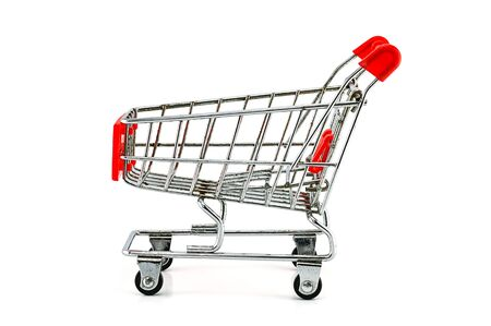 shopping buggy: shopping cart on white background
