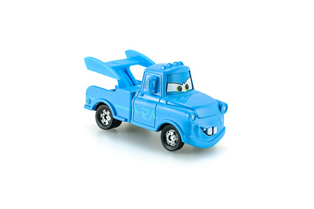 Bangkok,Thailand - February 02, 2015: Tow Mater plain blue a main protagonist of the Disney Pixar feature film Cars. A diecast cars collcetion from Takara Tomy.