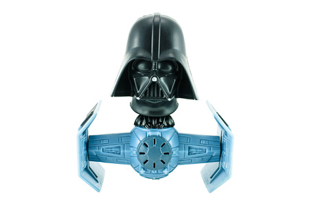 Bangkok, Thailand - January 19, 2015 : Darth vader bobble head tie figter character toy from Strar War the clone wars. There are plastic toy sold as part of the McDonald's Happy meals. Redactioneel