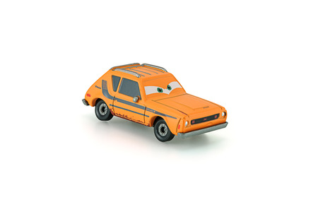 gremlin: Bangkok,Thailand - January 26, 2014: Grem rusty orange AMC Gremlin a main protagonist of the Disney Pixar feature film Cars. A diecast cars collcetion from mattel inc.