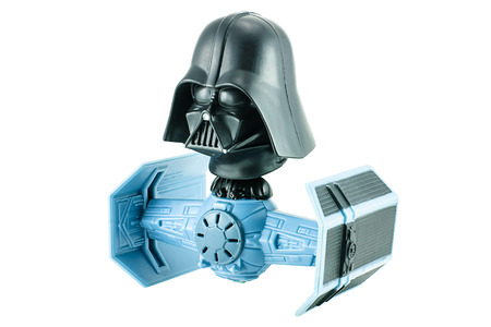 clone: Bangkok, Thailand - January 19, 2015 : Darth vader bobble head tie figter character toy from Strar War the clone wars. There are plastic toy sold as part of the McDonalds Happy meals.