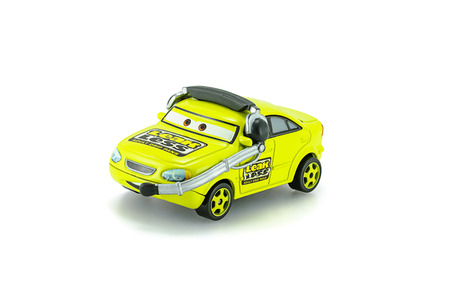 Bangkok,Thailand - February 02, 2015: Earl Filter Leak Less Adult Drip Pan a protagonist of the Disney Pixar feature film Cars. A diecast cars collcetion from Takara Tomy.