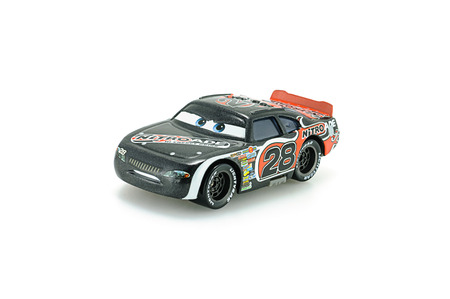 grand kids: Bangkok,Thailand - February 02, 2015: Number 28 Nitroade racer Aiken Axler a protagonist of the Disney Pixar feature film Cars. A diecast cars collcetion from Takara Tomy. Editorial
