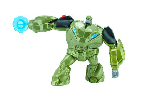 bulkhead: Bangkok, Thailand - January 27, 2015 : Bulkhead  toy character from TRANSFORMERS Prime animation series. There are toy sold as part of McDonalds Happy Meal Toys.