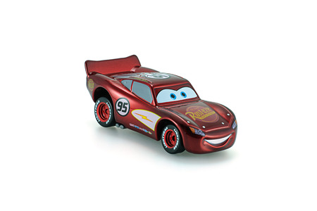 Bangkok,Thailand - February 05, 2015: Radiator Springs Lighting Mcqueen toy car a protagonist of the Disney Pixar feature film Cars. A diecast cars collcetion from Takara Tomy.