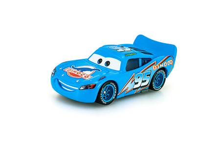 Bangkok,Thailand - January 22, 2014: Dinoco McQueen main protagonist of the Disney Pixar feature film Cars. A diecast cars collcetion from mattel inc. Redactioneel