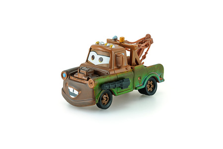 Bangkok,Thailand - January 26, 2014: Tow Mater pick-up truck with machine gun a main protagonist of the Disney Pixar feature film Cars. A diecast cars collcetion from mattel inc.