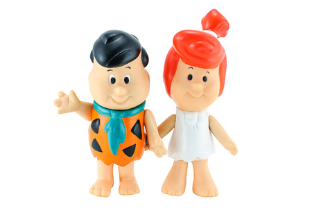 babie: Bangkok, Thailand - January 11, 2015: Fred Flintstone and Wilma Flintstone toddlers toy character from the Flintstones animated American television sitcom.The show was produced by Hanna-Barbera. Editorial