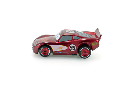 grand kid: Bangkok,Thailand - February 05, 2015: Radiator Springs Lighting Mcqueen a protagonist of the Disney Pixar feature film Cars. A diecast cars collcetion from Takara Tomy. Editorial