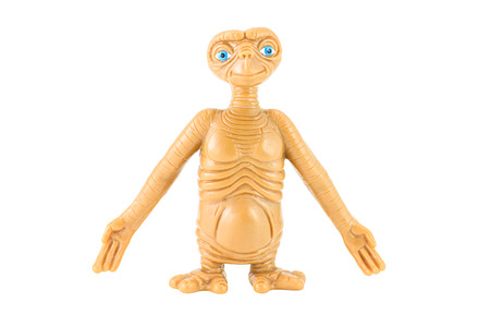 animated alien: Bangkok, Thailand - January 19, 2015 : ET alien toy character. This figues toy form E.T. the Extra-terrestrial film.