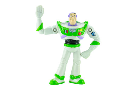 lightyear: Bangkok,Thailand - February 15, 2015: Buzz Lightyear robot toy character form Toy Story animation film. There are plastic toy sold as part of the McDonald Editorial
