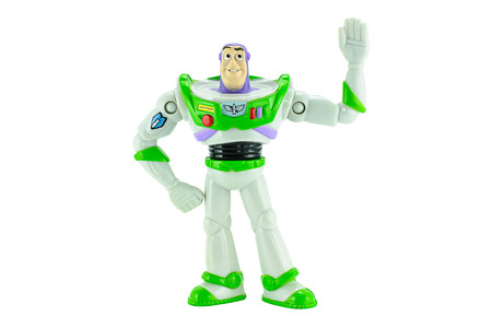 disney cartoon: Bangkok,Thailand - February 15, 2015: Buzz Lightyear robot toy character form Toy Story animation film. There are plastic toy sold as part of the McDonald Editorial