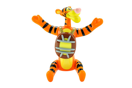 Bangkok,Thailand - February 15, 2015: Tigger tiger toy character from Disney Winnie the Pooh cartoon. There are plastic toy sold as part of the McDonald