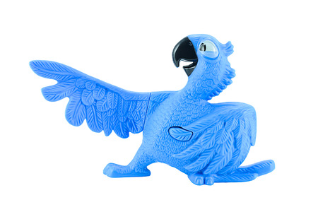 clawed: Bangkok,Thailand - February 24, 2015: Blu the  blue macaws toy character form RIO animation film. There are plastic toy sold as part of the McDonald