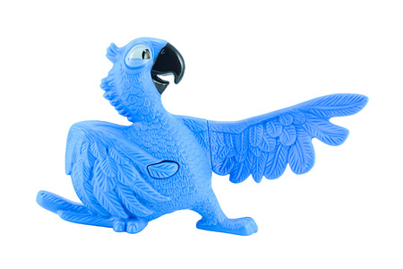 Bangkok,Thailand - February 24, 2015: Blu the  blue macaws toy character form RIO animation film. There are plastic toy sold as part of the McDonalds Happy meals.