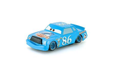Bangkok,Thailand - February 08, 2015: Dinoco Chick Hicks toy car a protagonist of the Disney Pixar feature film Cars. A diecast cars collection from Takara Tomy.