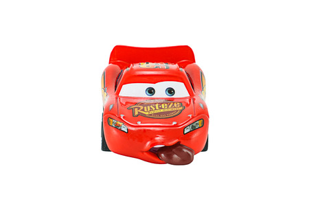 lightning speed: Bangkok,Thailand - February 08, 2015: Tongue Lighting Mcqueen toy car a protagonist of the Disney Pixar feature film Cars. A diecast cars collection from Mattel inc.
