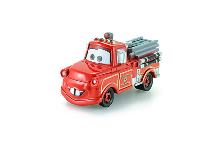 disney cartoon: Bangkok,Thailand - February 05, 2015: Rescue squad Mater toy car a protagonist of the Disney Pixar feature film Cars. A diecast cars collection from Takara Tomy.