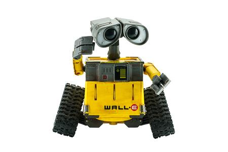 disney cartoon: Bangkok,Thailand - March 1, 2015: WALL-E robot toy character form WALL-E animation film by Disney Pixar Studio. Editorial