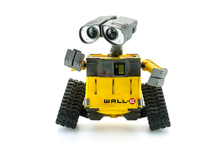 disney cartoon: Bangkok,Thailand - March 1 2015: WALL-E robot toy character form WALL-E animation film by Disney Pixar Studio.