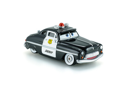 japanes: Bangkok,Thailand - March 9, 2015: Sheriff traffic corp a die cast toy character from Disney Pixar Cars animation movie.