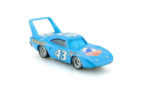 disney cartoon: Bangkok,Thailand - March 19, 2015: Strip The King Weathers toy car a protagonist of the Disney Pixar feature film Cars. A diecast cars collcection from Mattel inc.
