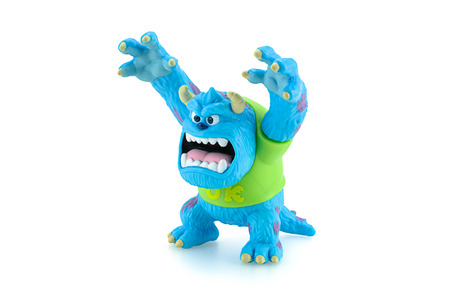 sarcastic: Bangkok,Thailand - March 19, 2015: Scarers James P. Sullivan Sulley figure toy character from Monsters University movie by Disney Pixar animation studio.