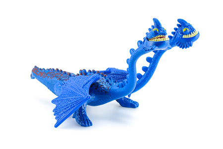 hideous: Bangkok,Thailand - March 21, 2015: Hideous Zippleback two heads dragon toy character from How to trian your dragon animation film. There are plastic toy sold as part of the McDonalds Happy meals.