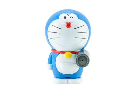 Bangkok,Thailand - March 21, 2015: Doraemon a blue robot cat a main protagonist of Doraemon Japanes animation cartoon. There are plastic toy sold as part of the McDonald's Happy meals.