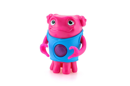 animated alien: Bangkok,Thailand - March 21, 2015: Heartfelt OH alien toy character from Dreamworks HOME animation movie. There are plastic toy sold as part of the McDonalds Happy meals.