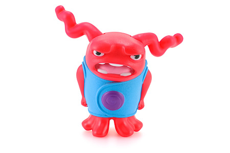 animated alien: Bangkok,Thailand - March 21, 2015: Shaking OH red alien toy character from Dreamworks HOME animation movie. There are plastic toy sold as part of the McDonalds Happy meals.