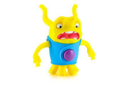 animated alien: BangkokThailand  April 7 2015: Serprised OH alien yellow color toy character from Dreamworks HOME animation movie. There are plastic toy sold as part of the McDonalds Happy meals.