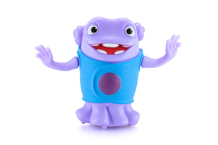 animated alien: Bangkok,Thailand - April 9, 2015: Dancing OH alien purple color toy character from Dreamworks HOME animation movie. There are plastic toy sold as part of the McDonalds Happy meals.