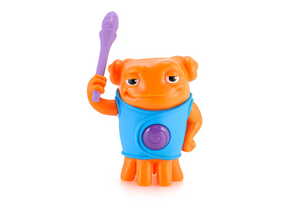 animated alien: Bangkok,Thailand - April 9, 2015: Heroic OH alien orange color toy character from Dreamworks HOME animation movie. There are plastic toy sold as part of the McDonalds Happy meals. Editorial