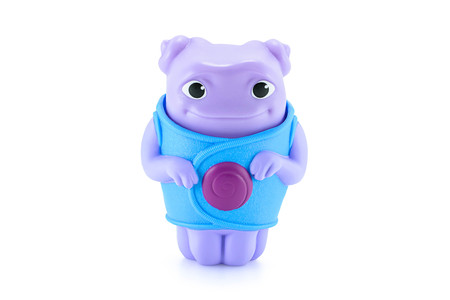 animated alien: Bangkok,Thailand - April 9, 2015: OH alien purple color toy character from Dreamworks HOME animation movie. There are plastic toy sold as part of the McDonalds Happy meals. Editorial