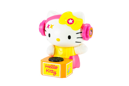 disk jockey: Bangkok,Thailand - April 26, 2015: Hello Kitty DJ costume toy character figure.There are plastic toy sold as part of the McDonalds Happy meals.