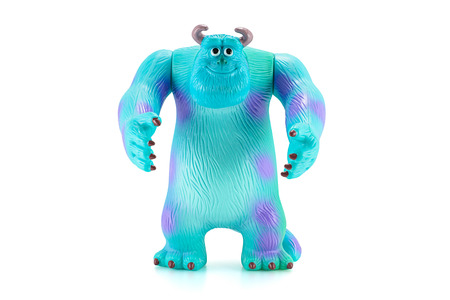 disney cartoon: Bangkok,Thailand - April 26, 2015: James P. Sullivan Sulley figure toy character from Monsters inc movie by Disney Pixar. There are plastic toy sold as part of the McDonalds Happy meals.