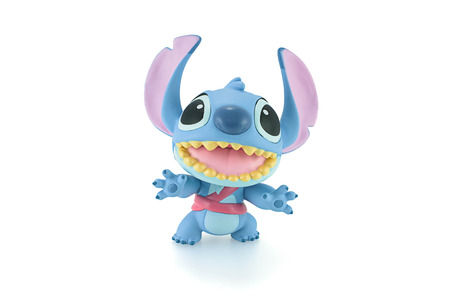 the series: Bangkok, Thailand - Apirl 22, 2015: Stitch figure toy a fictional character in the Lilo & Stitch film series and television series. Editorial