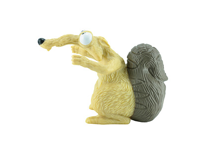 ice age: Bangkok,Thailand - April 16, 2015: Scrat toy character from Ice Age animation film. There are plastic toy sold as part of the McDonalds Happy meals. Editorial