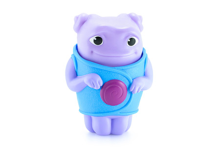 animated alien: Bangkok,Thailand - April 16, 2015: OH alien purple color toy character from Dreamworks HOME animation movie. There are plastic toy sold as part of the McDonalds Happy meals.