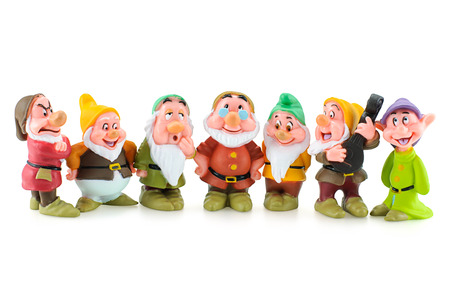 Bangkok,Thailand - April 19, 2015: Group of the Seven Dwarfs toy figure. The character appeared in Disney's Snow White and the Seven Dwarfs.