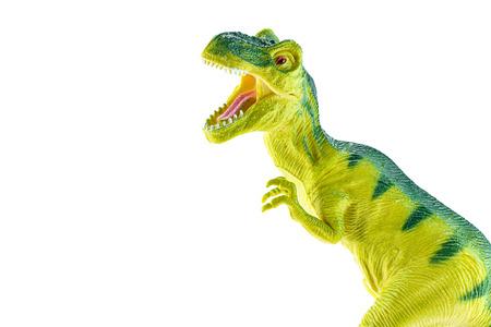 dinosauro: Tyrannosaurus rex giocattolo di plastica isolato su sfondo bianco.