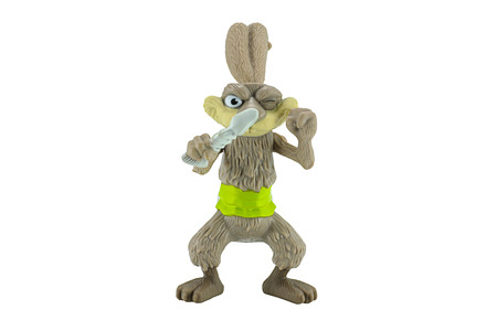 ice age: Bangkok,Thailand - April 9, 2015: Squint rabbit a pirate easter bunny toy character from Ice Age animation film. There are plastic toy sold as part of the McDonalds Happy meals.